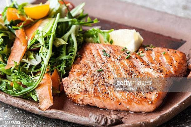 grilled fillet of wild salmon - fillet stock pictures, royalty-free photos & images