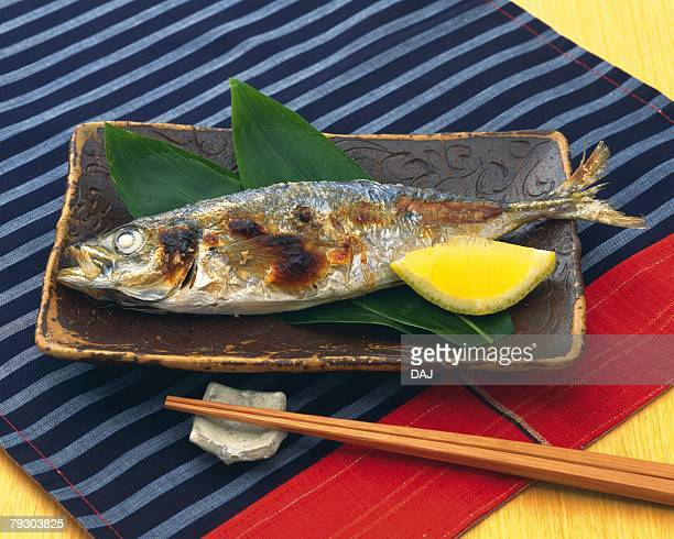 grilled fish, close up - trachurus japonicus stock pictures, royalty-free photos & images