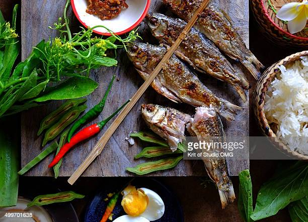 Grilled fish in Thai folk style