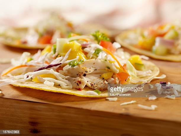 grilled fish tacos with mango salsa - dorado fish stock photos and pictures
