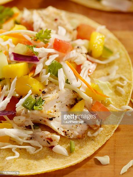 grilled fish tacos with mango salsa - dolphin fish stock pictures, royalty-free photos & images