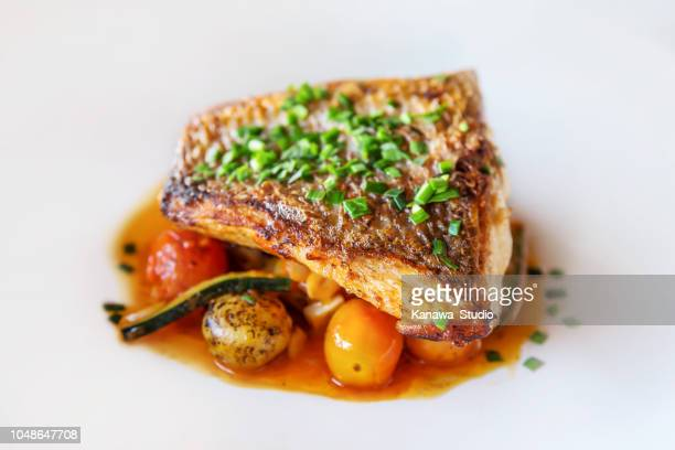 grilled fish with fresh vegetables - fillet stock pictures, royalty-free photos & images