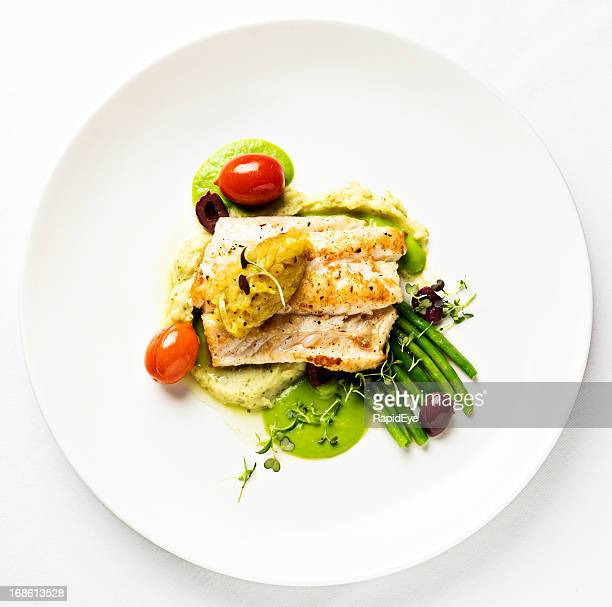 grilled fish with lentil puree and vegetables seen from above - food stock pictures, royalty-free photos & images