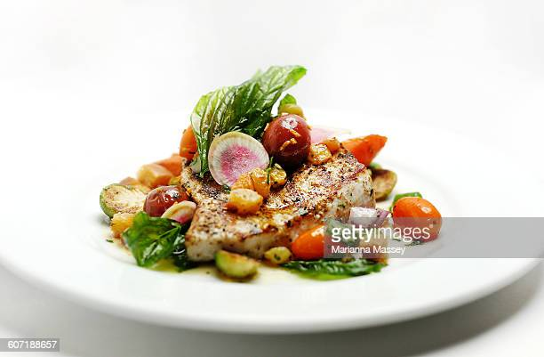 grilled fish with seasonal vegetables - swordfish stock pictures, royalty-free photos & images