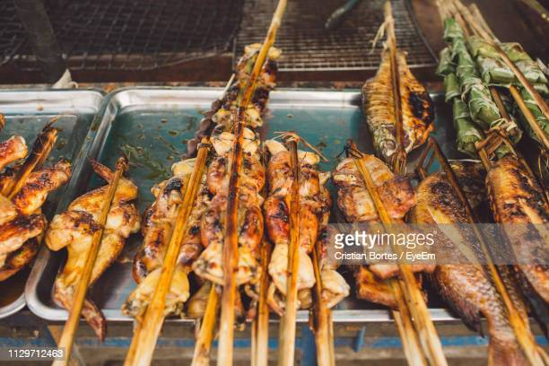 Grilled Fishes And Chicken Meat At Market For Sale