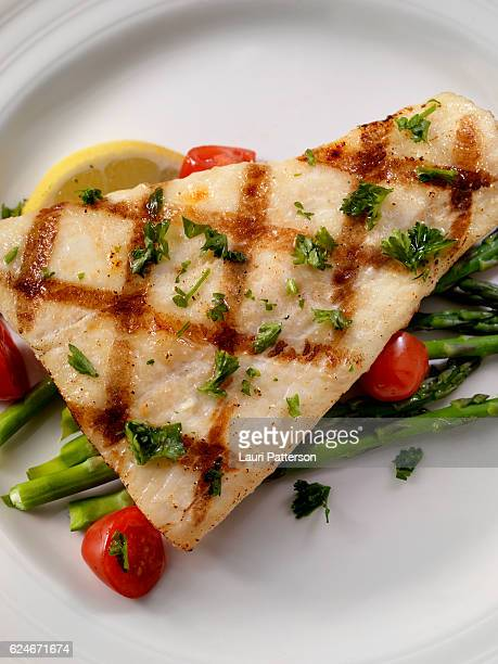 Grilled Halibut with Asparagus and Tomatoes