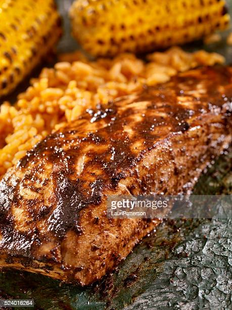 BBQ Grilled Halibut with Jerk BBQ Sauce