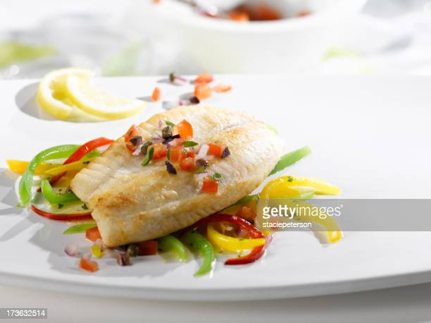 Grilled Halibut with Peppers in the sun
