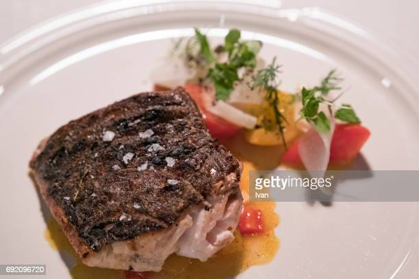 Grilled Halibut with Salad and Rock Salt