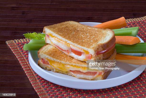 grilled ham_cheese and tomato sandwich -  firak stock pictures, royalty-free photos & images