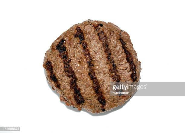 grilled hamburger patty isloated - hamburger stock pictures, royalty-free photos & images