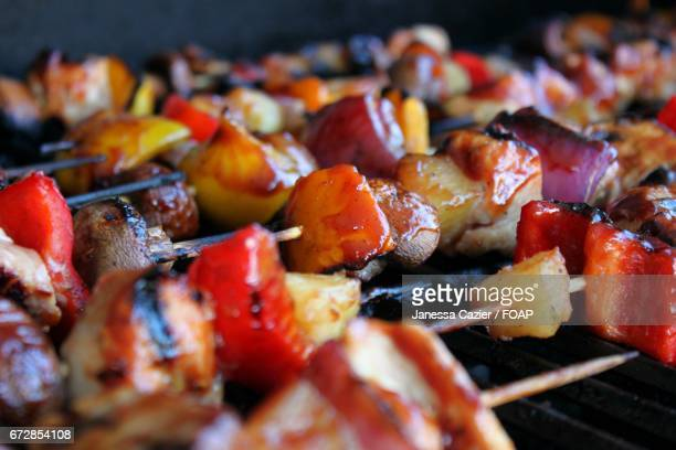 grilled kebab - janessa stock pictures, royalty-free photos & images