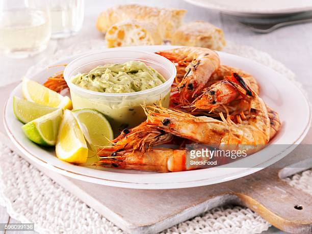 Grilled king prawns with guacamole