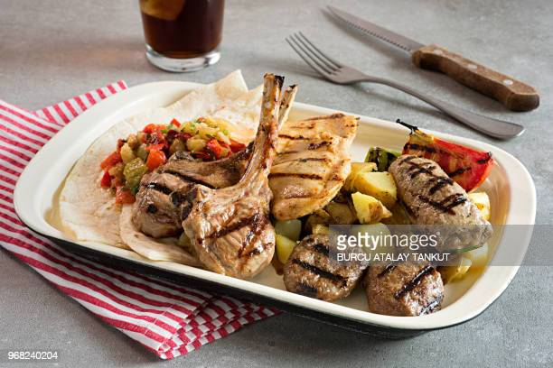 Grilled Lamb Chops, Chicken Breast and Meatballs