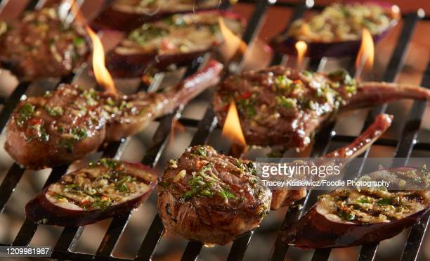 grilled lamb chops on flaming grill - pesto stock pictures, royalty-free photos & images