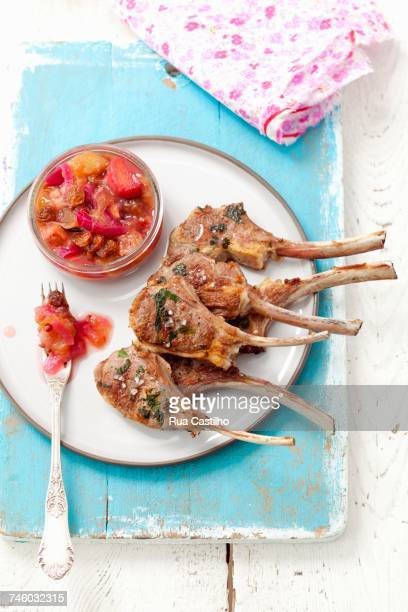 Grilled lamb chops with rhubarb chutney