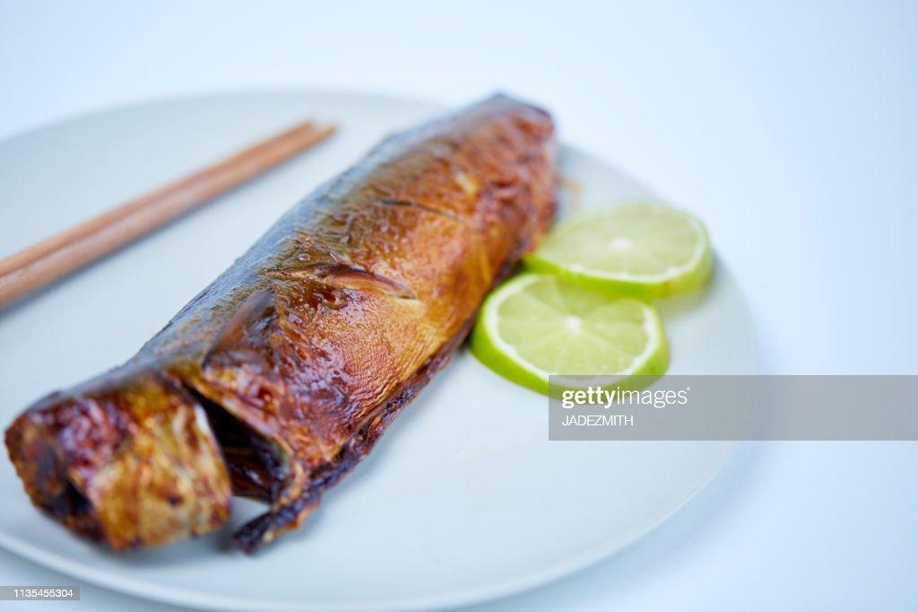 Grilled Mackerel Japanese style on white background : Stock Photo