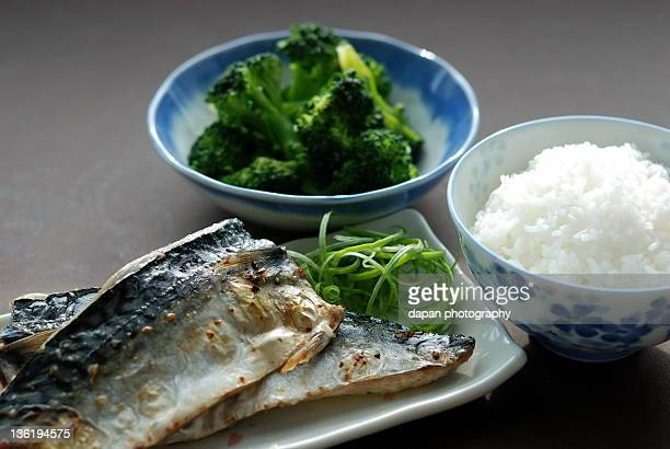 Grilled mackerel with rice