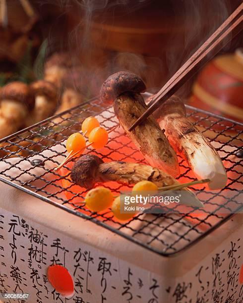 Grilled matsutake mushrooms