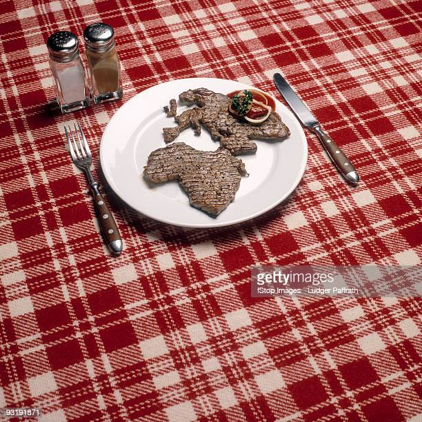 Grilled meat in the shape of Africa and Europe arranged on a plate