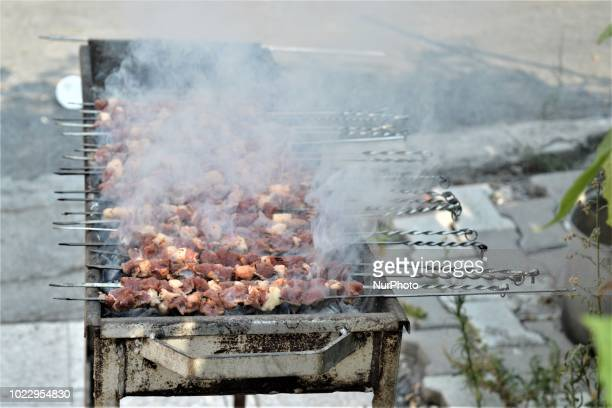 Grilled meat is pictured on the last day of Eid alAdha in southern Hatay province of Turkey on August 24 2018 Hatay is bordered by Syria to the south