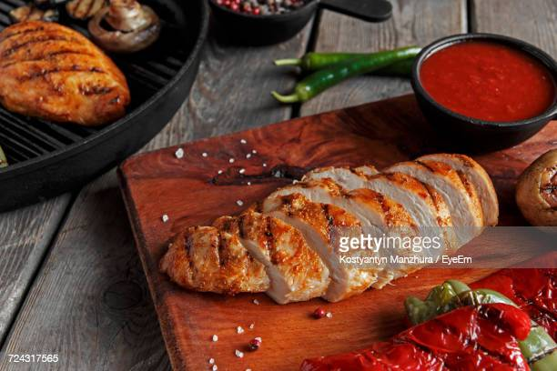 Grilled Meat On Cutting Board
