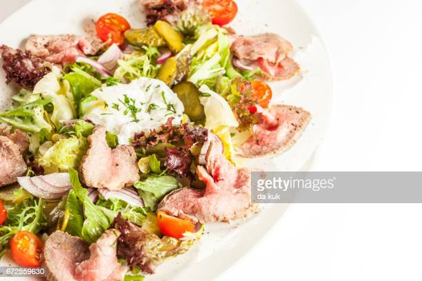 grilled meat salad - course meal stock pictures, royalty-free photos & images