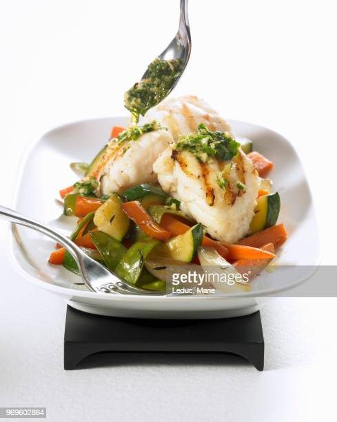 grilled monkfish with pan-fried vegetables - アンコウ ストックフォトと画像