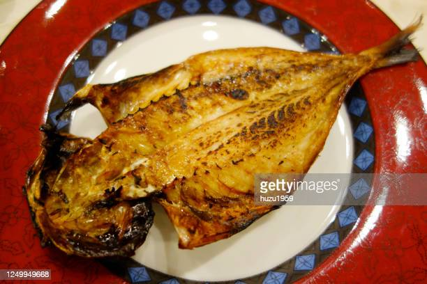 grilled of dried horse mackerel, japanese traditional food - jack fish stock pictures, royalty-free photos & images
