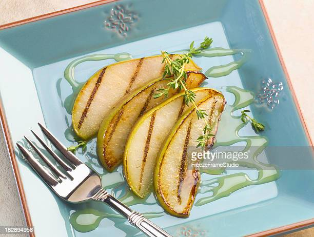 Grilled Pears with honey & thyme dessert plate