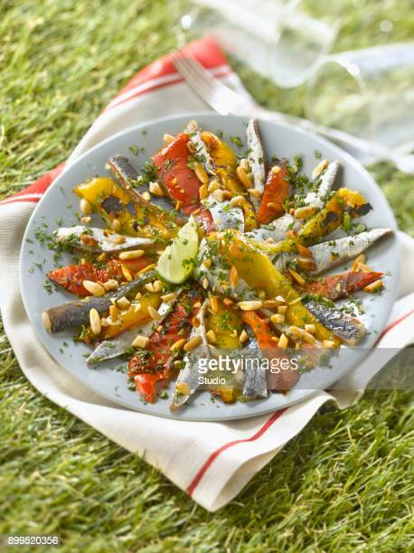 Grilled pepper,sardines marinated in lemon,cilantro and pine nut salad