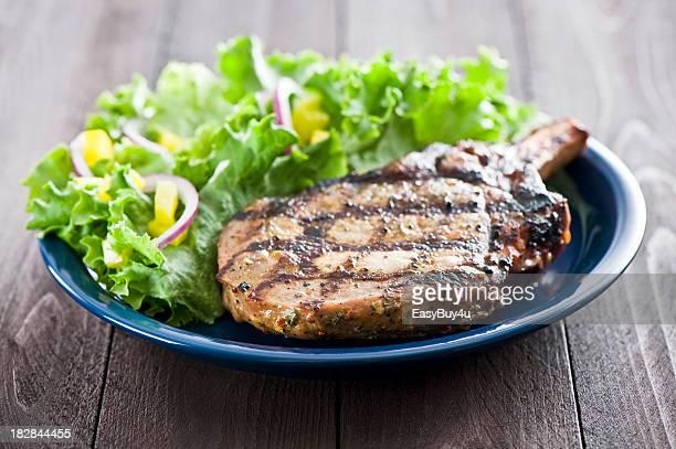 Grilled pork loin chop