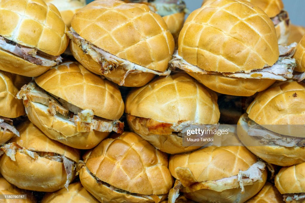 Grilled pork sandwiches : Foto stock