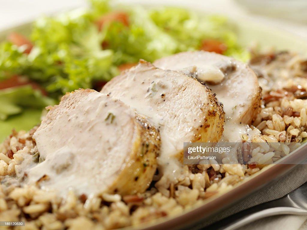 Grilled Pork Tenderloin with Wild Rice : Stock Photo