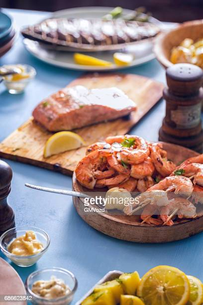 Grilled Prawns and Salmon with Fresh Lemon