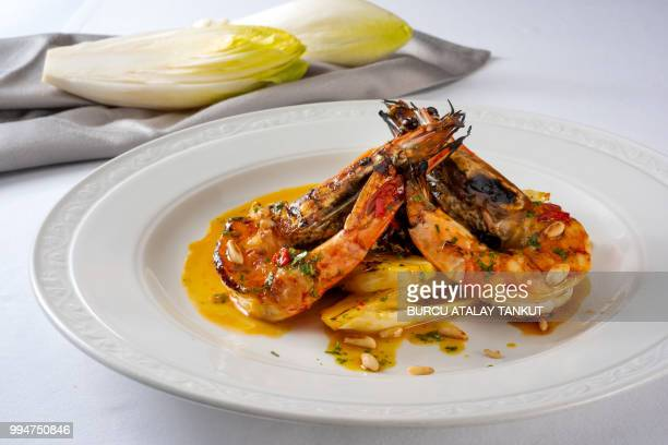 Grilled Prawns with Chicory
