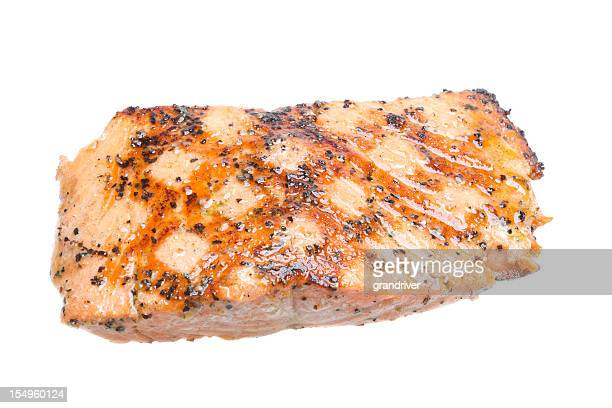 grilled salmon filet, isolated on white - cooked stock pictures, royalty-free photos & images