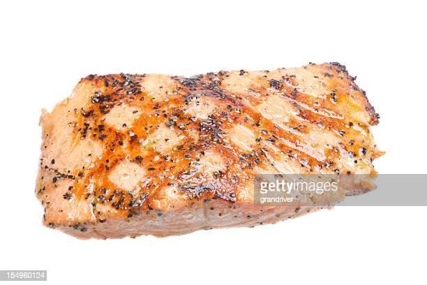Filete de salmón a la parrilla, Aislado en blanco
