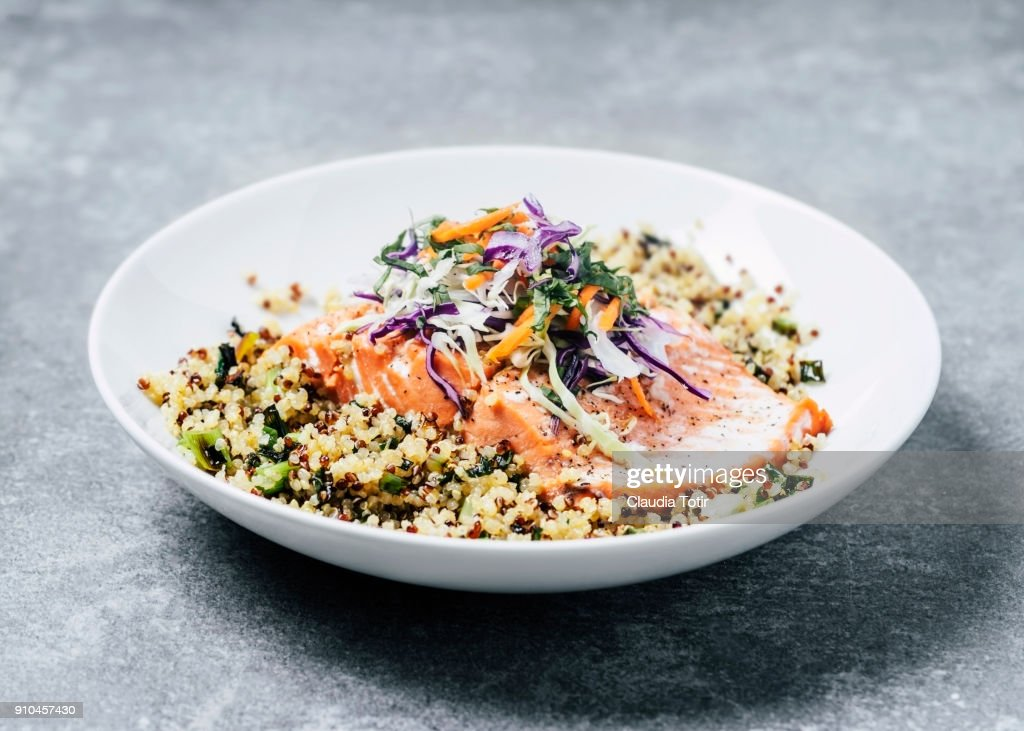 Grilled salmon fillet with quinoa : Stock Photo