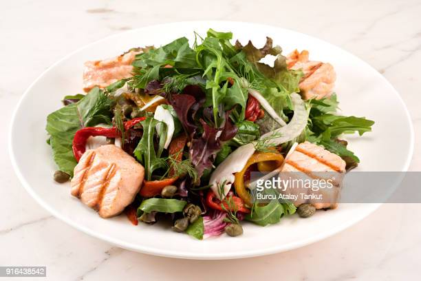 Grilled Salmon Salad with Green Leaves