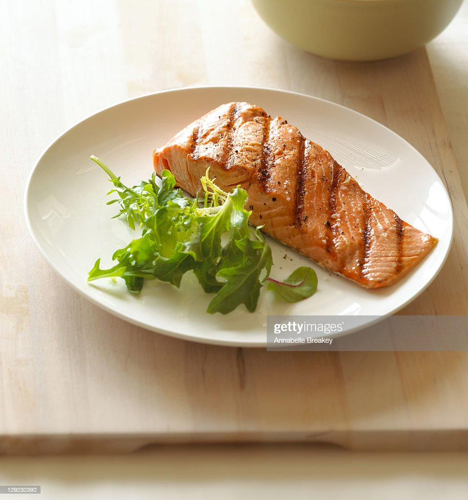 Grilled Salmon Seafood Fish Healthy Entree : Stock Photo