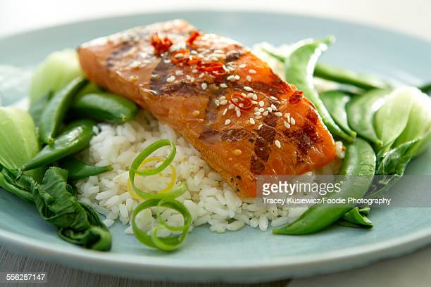 Grilled Salmon with Asian greens