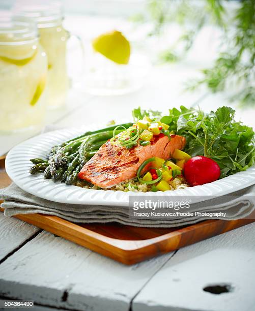Grilled Salmon with mango salsa and salad