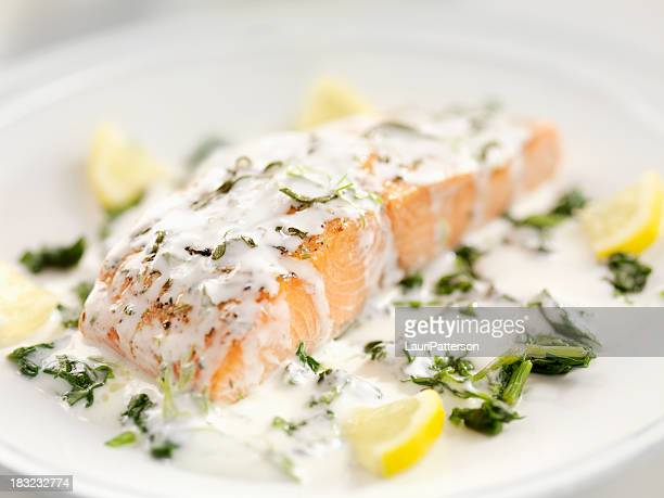 grilled salmon with spinach - cream stock pictures, royalty-free photos & images
