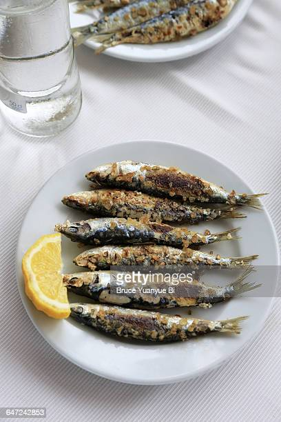 grilled sardines - sardine stock pictures, royalty-free photos & images