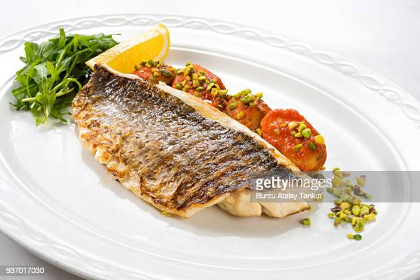 Grilled Sea bream Fillet with Roasted Potato and Pistachio