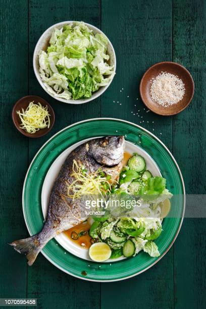 grilled sea bream with vegetables - perch fish stock pictures, royalty-free photos & images