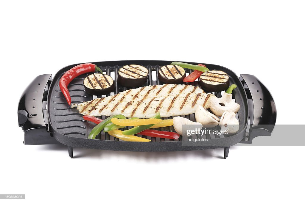 Grilled seabass with vegetables. : Stock Photo