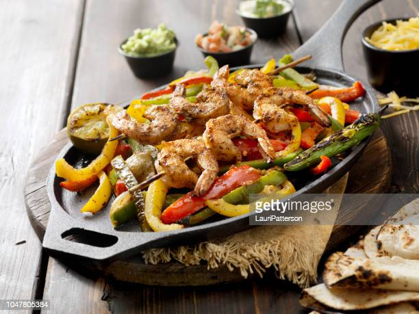 grilled shrimp fajita platter - burrito stock pictures, royalty-free photos & images