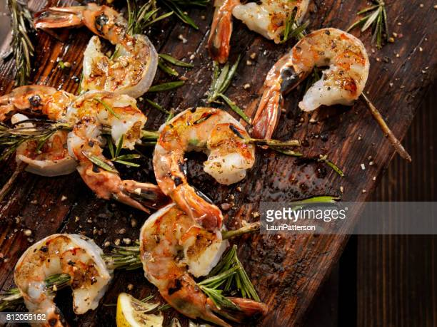 grilled shrimp on rosemary skewers - seafood stock pictures, royalty-free photos & images